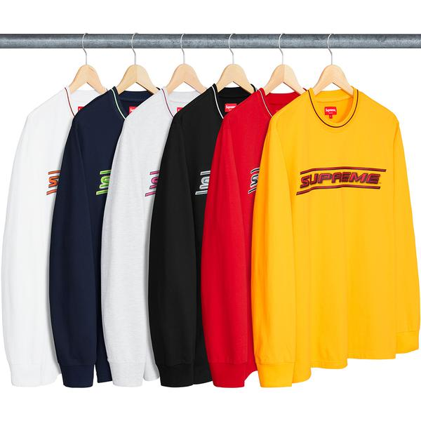 Bevel L/S Top - All cotton crewneck with striped knit rib collar and printed logo on chest.