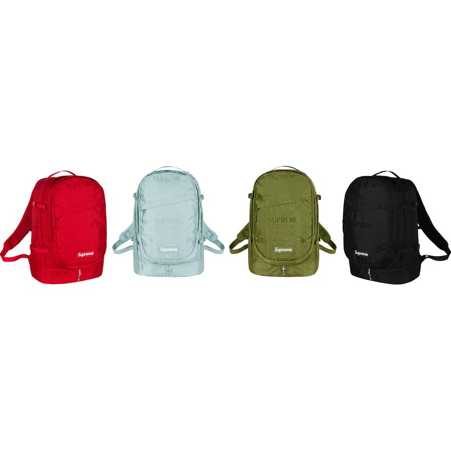 Backpack - Cordura® nylon with jacquard logo pattern and embossed logo lining. Main zip compartment with single layer laptop sleeve. Front zip compartment with internal zip pocket and key clip. Additional front zip pocket and compression straps with buckle closu...