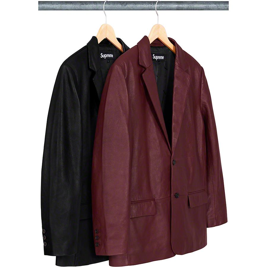 Leather Blazer - Lambskin leather with jacquard logo viscose lining and two-button closure. Double welt flap hand pockets at hip and interior chest pockets. Functional buttons at sleeve.