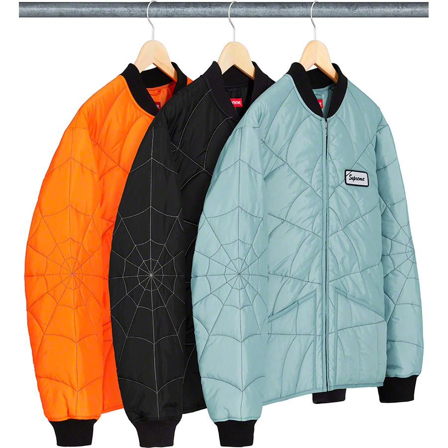 Spider Web Quilted Work Jacket - Nylon with embroidered pattern and fill. Full zip closure with patch pockets at lower front. Knit rib collar, cuffs and back hem with reflective logo patch on chest.