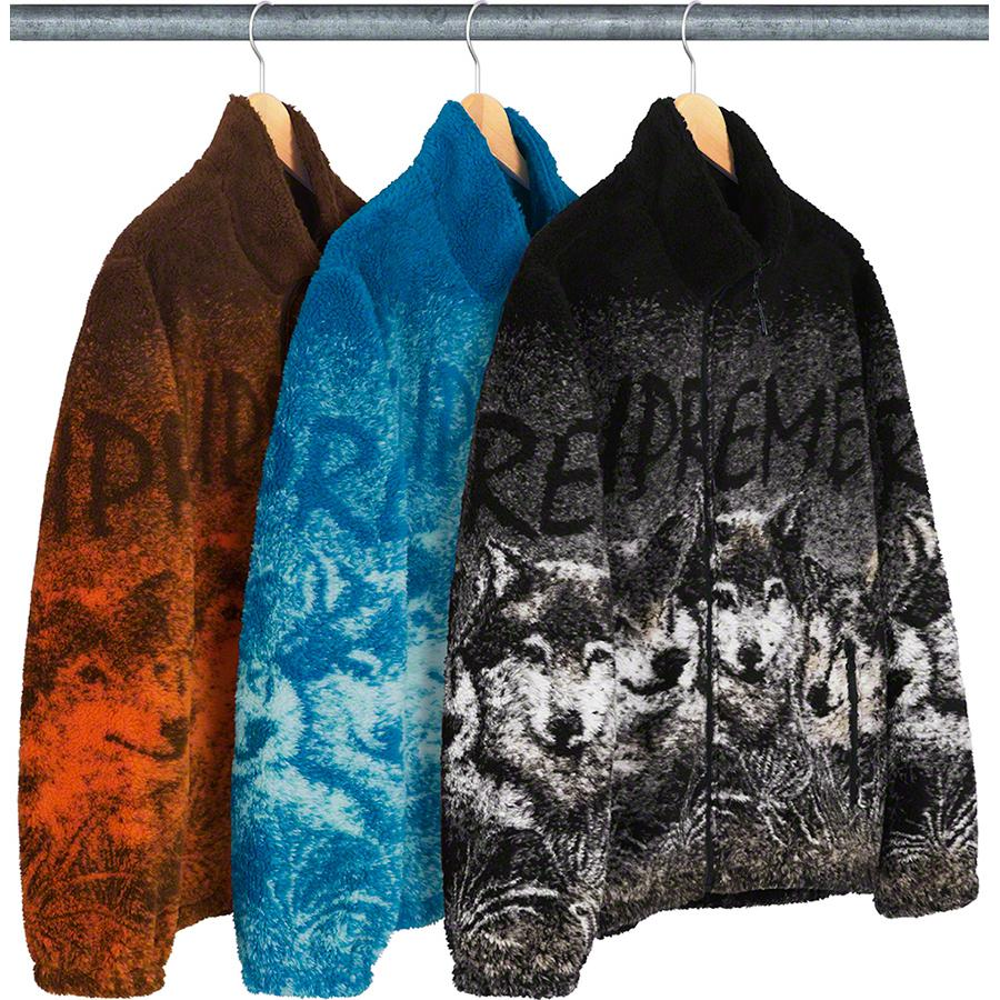 Wolf Fleece Jacket - Polar fleece with jacquard graphic and full zip closure. Zip hand pockets at lower front with elastic cuffs and hem.
