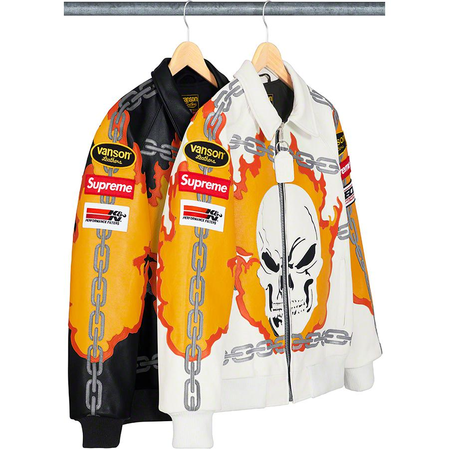 Supreme®/Vanson Leathers® Ghost Rider© Jacket - Custom fit competition weight cowhide leather with cotton blend lining. Full zip closure with hand pockets at lower front and interior chest pockets. Knit rib cuffs and hem. Leather cut-out graphics on front, back and sleeves with logo patches on slee...