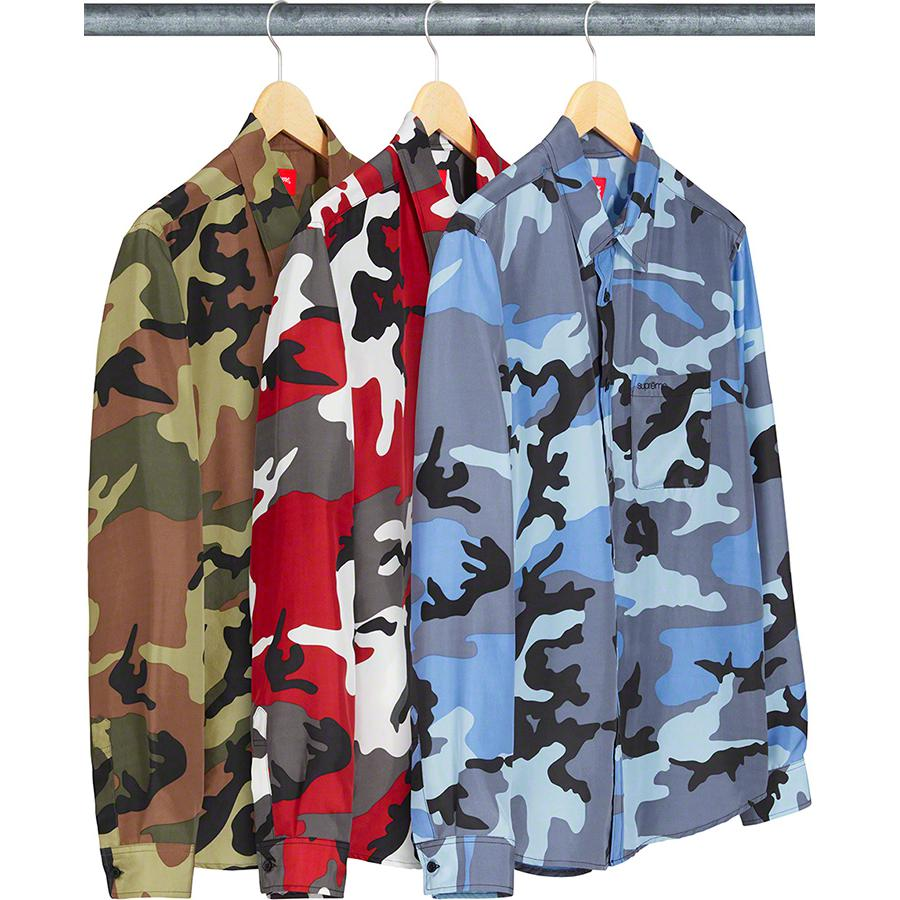 Silk Camo Shirt - Silk with printed pattern. Embroidered logo on single chest pocket.