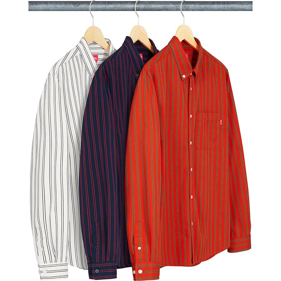 Stripe Twill Shirt - All cotton twill with button down collar and single chest pocket.