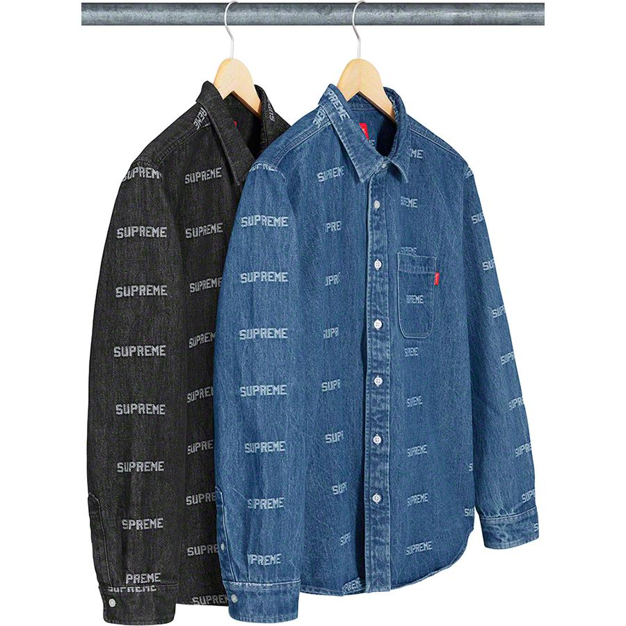 Logo Denim Shirt - All cotton denim with jacquard logo pattern and single chest pocket.