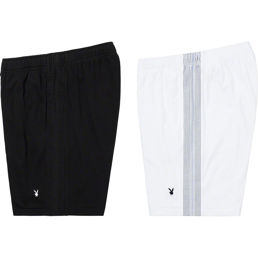 Supreme®/Playboy© Leisure Short - All cotton jersey with seersucker side panels. On seam hand pockets with single back patch pocket. Elastic waistband with interior drawcord and embroidered logo on left leg.