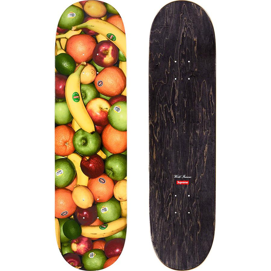 Fruit Skateboard - Supreme skate deck with natural veneers and black top ply. Printed graphic on bottom with printed World Famous and box logo on top.