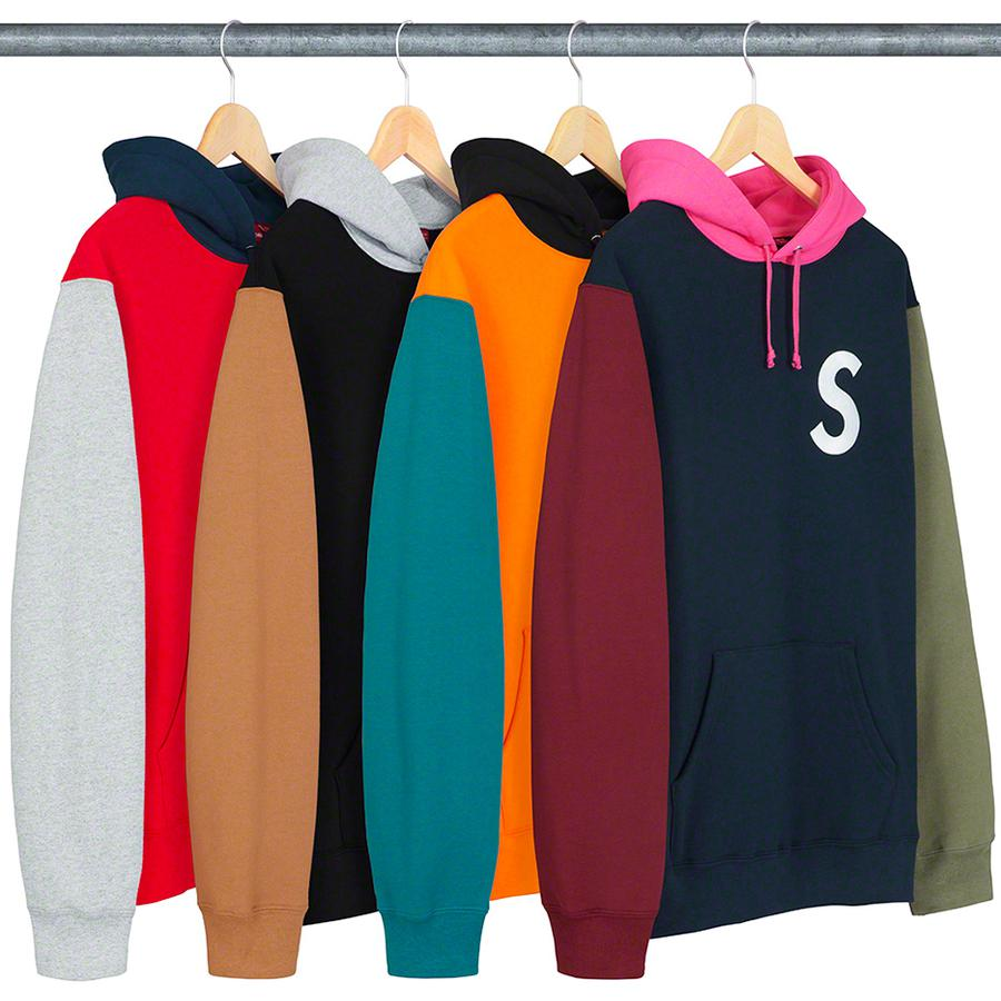 S Logo Colorblocked Hooded Sweatshirt - Cotton fleece with pouch pocket. Embroidered logos on chest and hood.