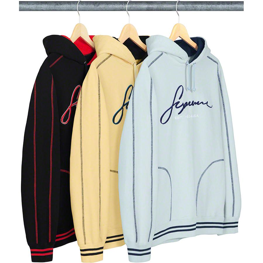 Contrast Embroidered Hooded Sweatshirt - Cotton fleece with on seam hand pockets. Striped rib cuffs and hem with embroidered logo on chest.