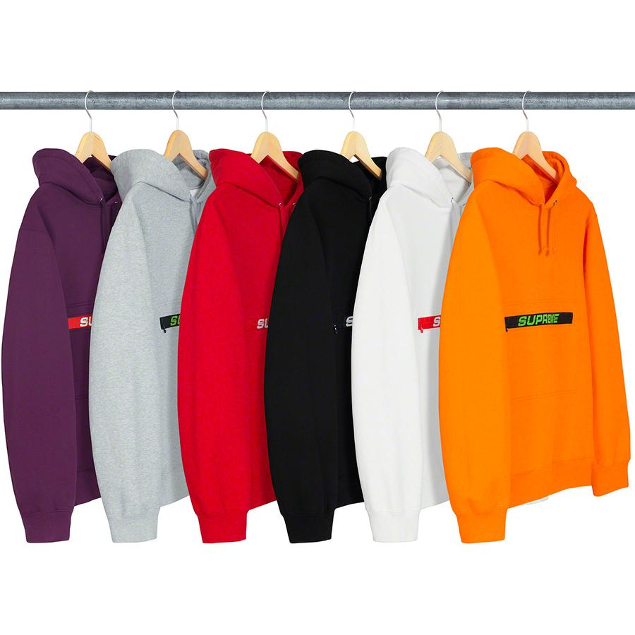 Zip Pouch Hooded Sweatshirt - Cotton fleece with on seam hand pockets. Zip pouch pocket at chest with jacquard logo zipper tape.