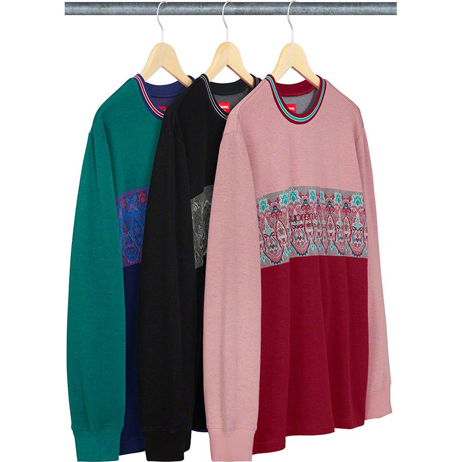 Paisley Stripe L/S Top - All cotton crewneck with embroidered logo on knit chest panel.