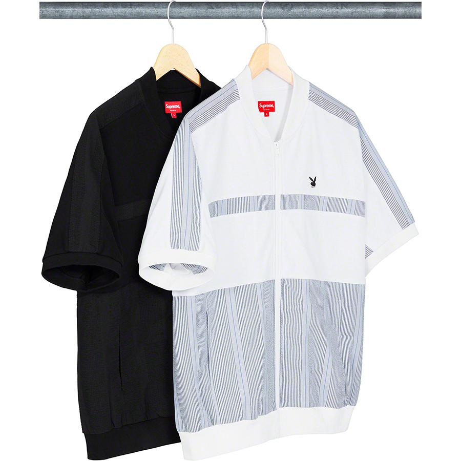 Supreme®/Playboy© Leisure Zip Up Top - All cotton jersey with full zip closure and hand pockets at lower front. Seersucker panels at front, back and shoulders. Knit rib collar, cuffs and hem with embroidered logo on chest.