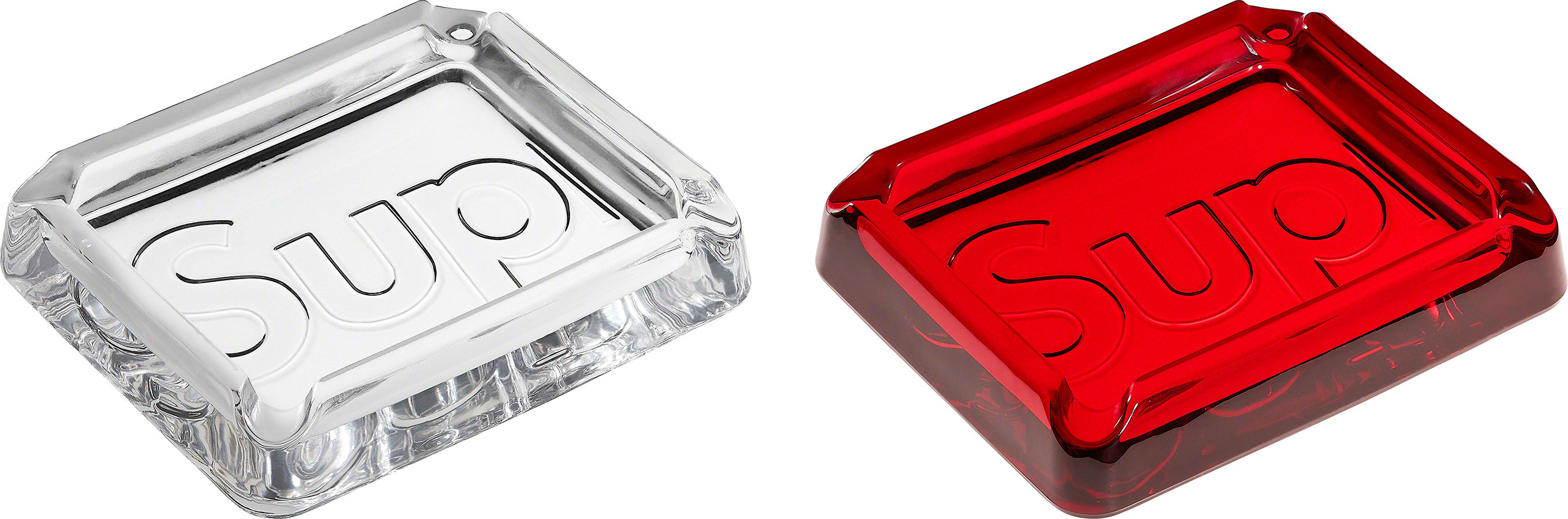 Supreme 20SS Debossed Glass Ashtray Red NEW Plate Accessory Case IN BOX